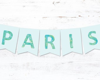 custom name banner for boys, mint green and teal name banner decor, christening name banner, choose your name, custom birthday party banner