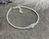 Dainty Aquamarine Bracelet, March Birthstone, Sterling Silver, Birthstone Jewellery, Stacking Bracelet, Bracelets for Women, silver bracelet