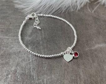 30th Birthday Milestone Gift, Dainty Bracelet with Cubic Zirconia Birthstone, Personalised Sterling Silver Jewellery