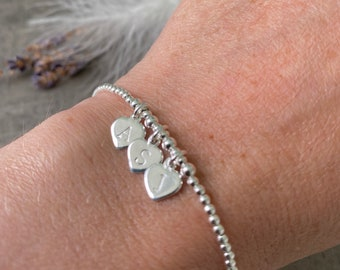 Personalised Family Initials Initial Bracelet in Sterling Silver, Dainty Monogram Jewellery