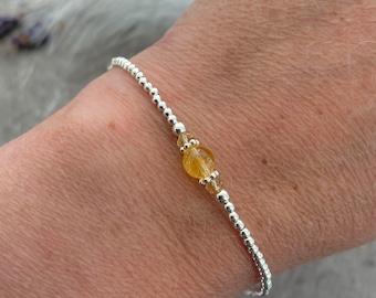 Yellow Citrine Bracelet, November Birthstone Sterling Silver, Bracelets for Women, silver bracelet