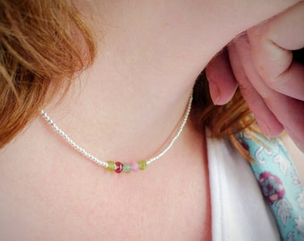Family Birthstone Necklace for Mum, Family birthstone Jewellery, dainty silver necklace