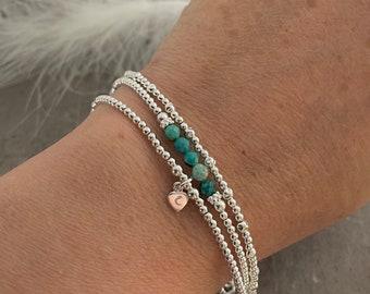 Turquoise Stacking Bracelet Set, Dainty Personalised December Birthstone Jewellery