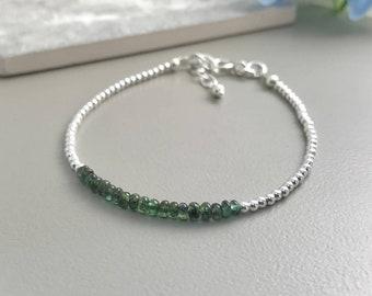 Emerald Bracelet, May Birthstone, Green Emerald, Sterling Silver Bracelet, Dainty, Skinny, Thin, Gemstone Bracelet