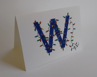 Holiday Chicago Cubs W Win Card - Handmade and printed from original ink and gouache illustration