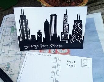 Chicago Postcard 4 Pack - Chicago Skyline - Chicago Hot Dog - Printed from original illustration