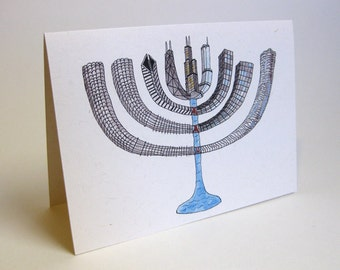 Holiday Hanukkah Chicago Skyline Card - Handmade and printed from original ink and gouache illustration