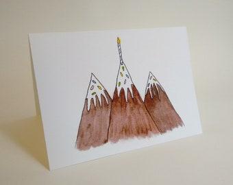 Mountain Range Birthday Cake Card - Colorado Utah Arizona Idaho New Mexico - Handmade and printed from original ink and gouache illustration