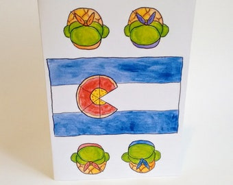 Cowabunga from Colorado TMNT Inspired Card  - Ninja Turtles - CO Flag - Handmade and printed from original ink / gouache illustration