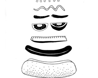 Chicago-style Hot Dog 8x10 or 5x7 Black and White Graphic Digital Print from Original Ink Illustration - Chicago Hot Dog