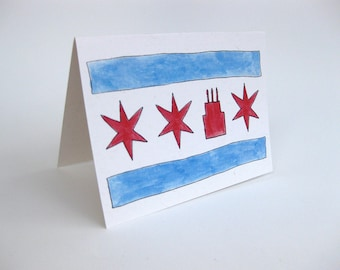 Chicago Flag Birthday Card - Handmade and printed from original ink and gouache illustration
