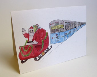 Chicago CTA Holiday Train Christmas Card - Handmade and printed from original ink and gouache illustration