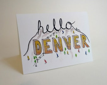 Hello from Denver Colorado Card  - Mountain - Ski Slope - Skiing - Snow - Handmade and printed from original ink / gouache illustration