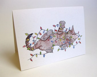 Holiday Christmas Cat Card - Handmade and printed from original ink and gouache illustration