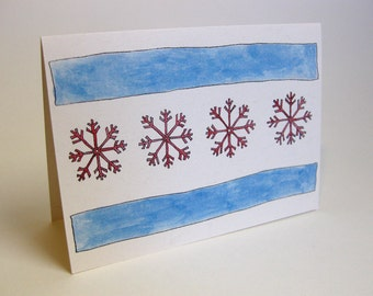 Holiday Chicago Snowflake Flag Card - Handmade and printed from original ink and gouache illustration