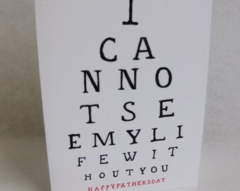 Father's Day Card - Vision Test / Eye Exam - Handmade and printed from original ink and gouache illustration