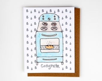 Bun in the Oven / Pregnancy Congrats / Baby Expectancy Greeting Card - Handmade and printed from original ink and gouache illustration