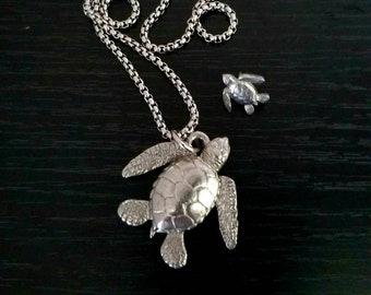 Sea Turtle Pendant Necklace Sea Turtle Jewelry Gifts Sea Turtle Charm, Sea Turtle Silver Pewter Necklace,  Mini Pin Sea Turtle Keepsake Gift