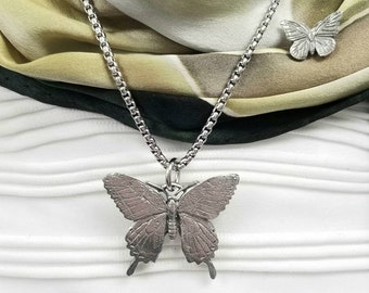 Butterfly Pendant Necklace, Butterfly Charm Jewelry Gift Set Silver Chain Monarch Gift for Her / Mom with Butterfly Pin by Little D Designs