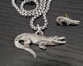 Alligator Gator Necklace Jewelry Gift, Crocodile Pendant Charm Necklace, Reptile Florida or Louisiana Gator Gift Set w Mini Matching Hat Pin
