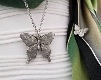 Butterfly Charm Pendant Necklace Jewelry Gifts, Silver Monarch Long Chain, Butterfly Gift for Her with Butterfly Pin by Little D Designs