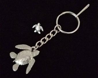 Sea Turtle Pendant Keychain Gifts Sea Turtle Keyring Sea Turtle Pendant Charm, Sea Turtle Silver Pewter Keychain, Sea Turtle Lover Gifts