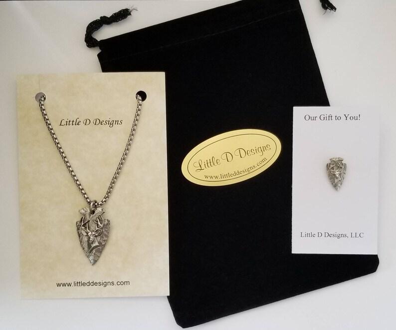 Little D Designs Arrowhead Necklace Buck Deer Head Necklace Hunting Necklace for Men Hunting Gifts Bow Hunting Deer Antler Jewelry Free Ship