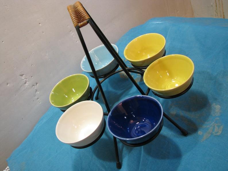 Vintage Danish Eslau Stoneware 6 Bowls in Black Metal /& Rattan Stand \u2013 1950s 1960s Mid Century Modern Scandinavian Design from Denmark
