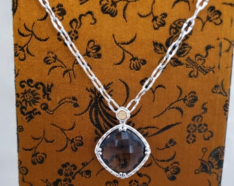 Checkerboard cut Smoky Quartz Sterling Silver and 18k Gold Necklace -EB830