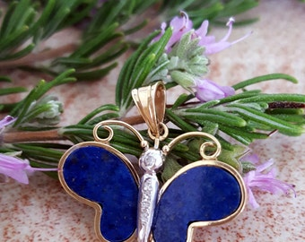 Whimsical Lapis and Diamond Butterfly Pendant in 14k Gold -EB509