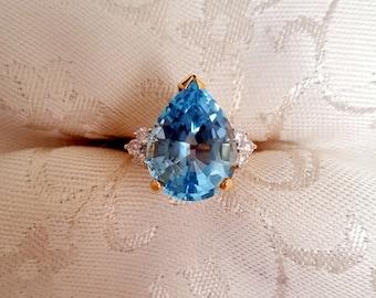 Custom-cut Rich Blue Topaz Pear and Diamond Ring in 14k Gold -EB513