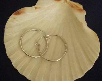 Sterling 925 Silver Hoop Earrings One Inch Round - EB310