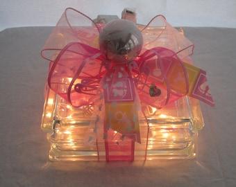 Lighted glass block, night light, little girl, new baby, nursery light, baby shower gift, unique, pink