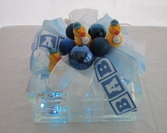Lighted glass block, night light, Baby Boy, new baby, nursery decoration, blue, baby shower gift