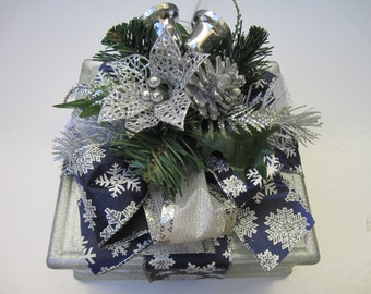 Lighted glass block, night light, white lights, holiday light, unique gift,  blue and white