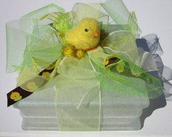 Lighted glass block, night light, decoration, Easter, Baby Chick, Hostess Gift, Unique Gift