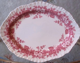 Saucers Shell Edge Dated 1949 England 8 Pc WEDGWOOD PINK Red BRAMBLE Lot 6 38 Bread Plate s Oval Serving Bowl