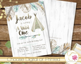 Wild One Boy Blue Feathers Teepee Watercolor 1st First Birthday Invite- Rustic Boho PRINTABLE! Tribal Arrow