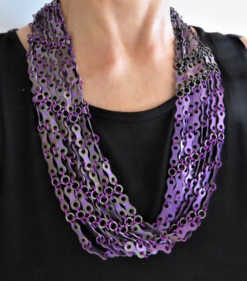 Bicycle statement jewelry 30in x 3in Bike Chain Necklace,: Infinity Scarf Custom colors Bike chain jewelry from woven chain parts