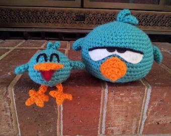 Sleepy bird & Baby bird crochet pattern