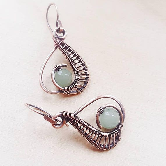 Green earrings Wire Wrap Earrings Wire Wrap pendant Copper Jewelry Free Shipping,Item #231 Green Necklace Copper Wire Wrap