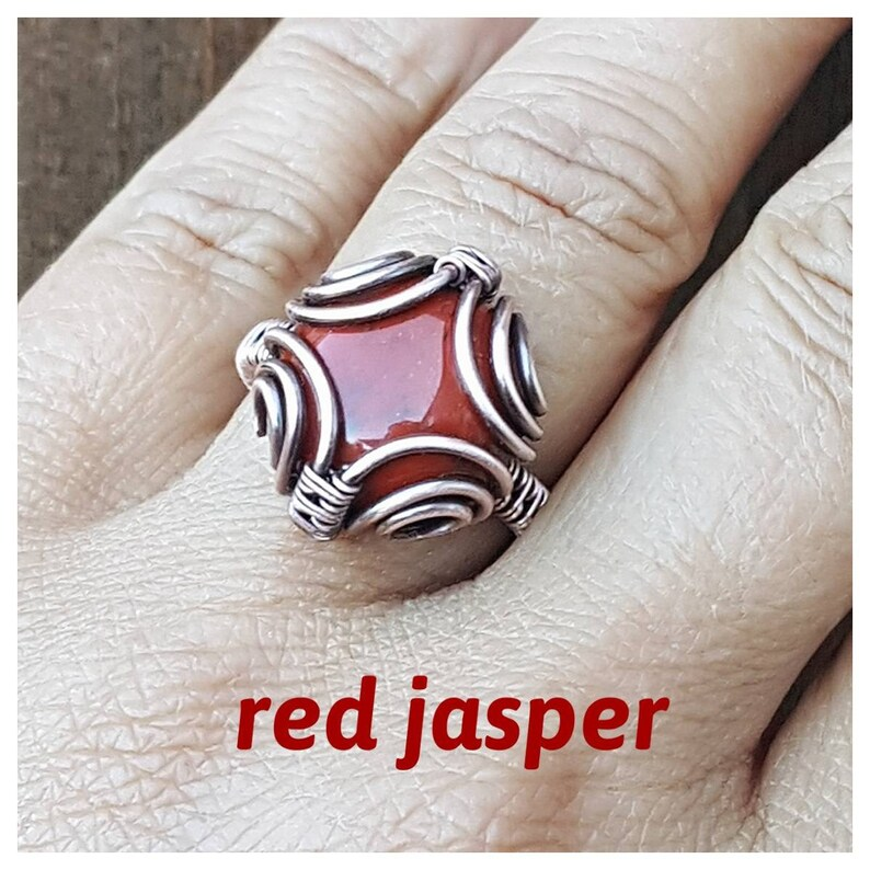 wire wrapped ring handmade boho wire ring wrapped copper wire jewelry Wire wrapped ring agate crazy lace agate ring yellow stone ring