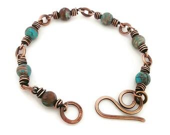 Beaded jasper bracelet, wire copper bracelet,earthy jewelry bracelet,wire wrapped jewelry copper,boho bracelet gemstone,rustic wire bracelet