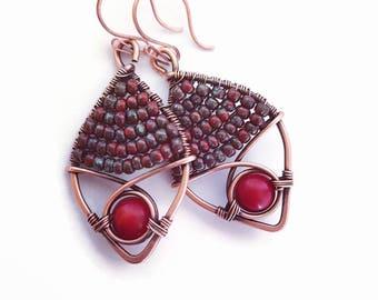 Red coral earrings, copper wire earrings, wire wrap earrings handmade, red boho earrings beaded, copper wire jewelry handmade coral earrings