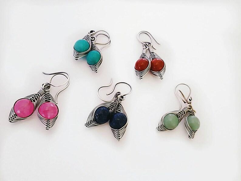 Wire sterling silver earrings teal green earrings silver green jade earrings handmade wrapped gemstone earringssilver wire earrings wire