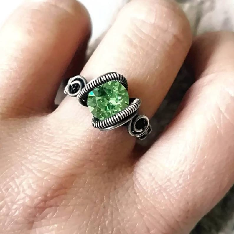 668f17bf9 Peridot green crystal ring wire wrapped ring silver wire   Etsy