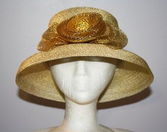 43802e4c Women's Gold Medium Brim Straw Dress Hat