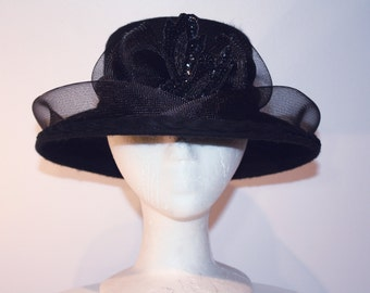 7b67ab51a66 Women s Black Wool Wide Brim Hat with Bow and Sequins Design