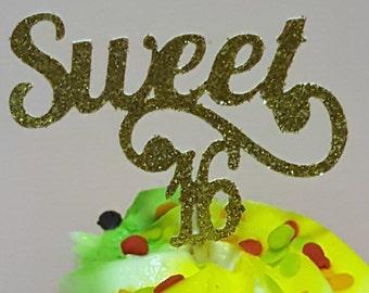 12 Gold Sweet 16 Party Picks - Cupcake Topper - Toothpicks - Food Picks Die Cut Punch Cardstock