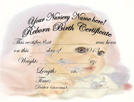 Reborn Birth Certificates Your Custom Nursery Name 5